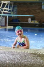 Our TV star, Sybella who has right-sided hemiplegia cerebral palsy loves the pool and swimming