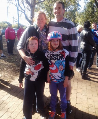 Jacob with his mum, dad and sister all getting ready to get active for STEPtember
