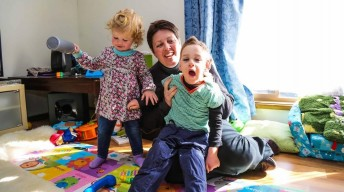 Charlotte and Dexter Heffernan with their Aunty Carol Laverty at home