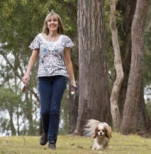 Toowoomba resident and her little pet dog walking to get their steptember steps up