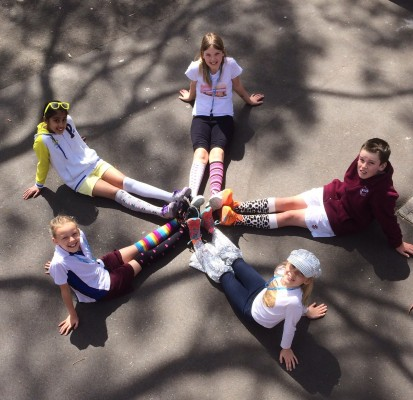 Five students from Willoughby Public School in odd socks