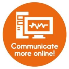 logo 'communicate more online' orange color