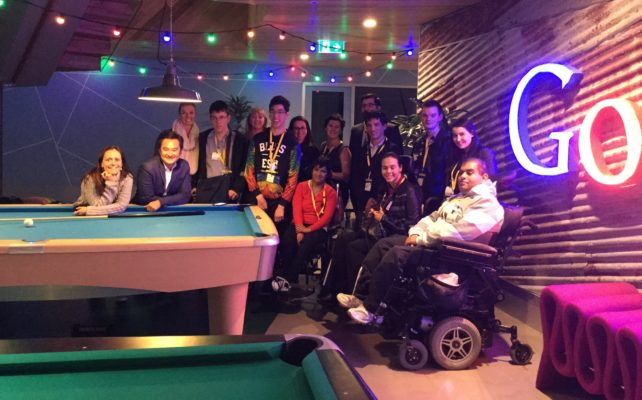 Group of young people with cerebral palsy at the office of Google