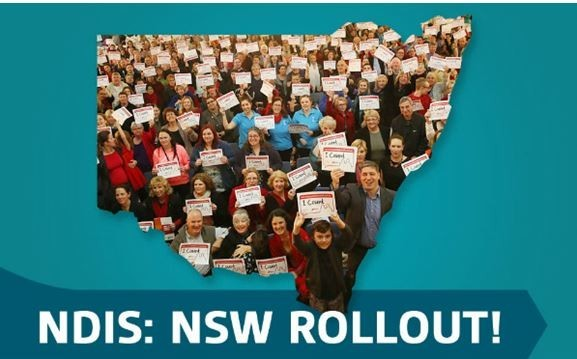 outline of the NSW map filled with people holding NDIS signs with heading NDIS: NSW Rollout!