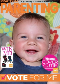 Practical Parenting Magazine cover with a photo of a baby - promoting a cover competition