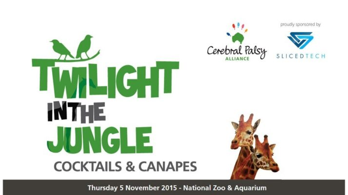Twilight in the Jungle with picture of giraffe and the Cerebral Palsy Alliance logo and Sliced Tech Logo
