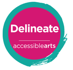 Circular logo: Delineate (arts program)