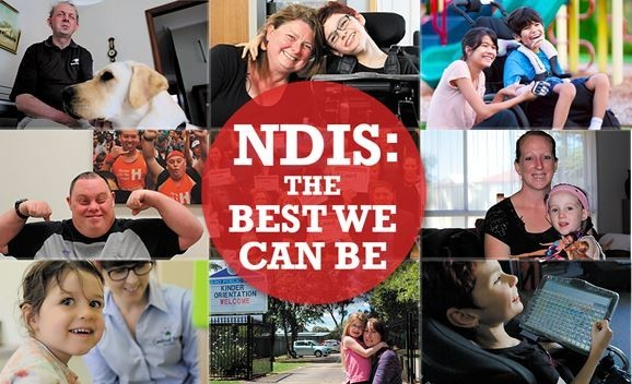 Collage of photos of people with disability with red circle in the middle saying 'NDIS: The Best We Can Be'