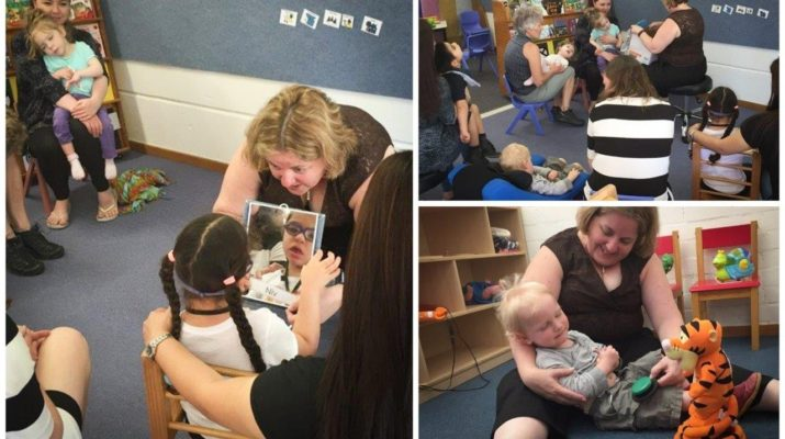 Collage photos that include early intervention therapist working with different children
