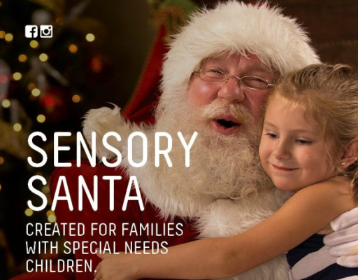 Santa with a child and words 'Sensory Santa created for families with special needs children'