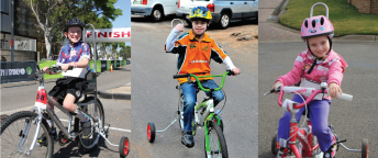 3 images of children with a disability riding a bike