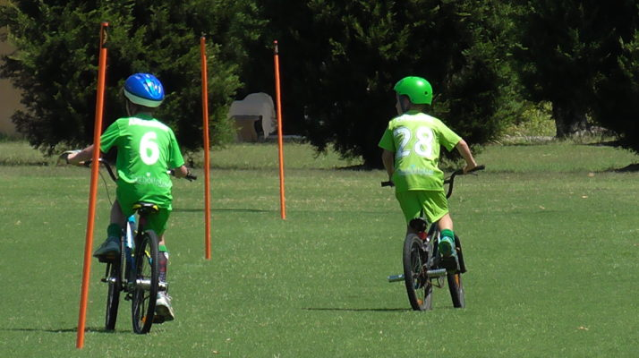 Two boys riding bikes on the grass