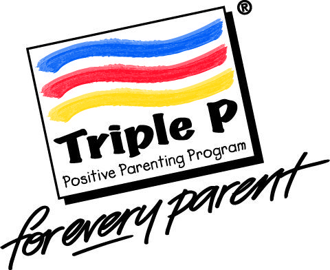 logo: Triple P parenting - square with three coloured lines with words Triple P positive parenting program underneath