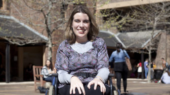 Johanna Garvin in her wheelchair at her university campus