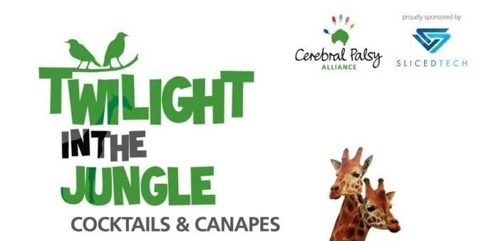 Twilight in the Jungle text with the Cerebral Palsy Alliance and Sliced Tech logos