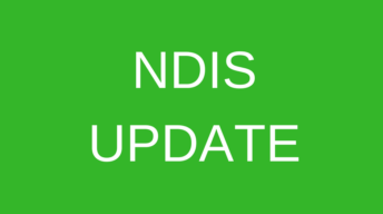 Text on green background. Text says NDIS update.