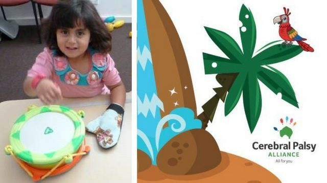 Little girl with a mitten on her left hand while she beats a drum with her hand affected by cerebral palsy, next to a cartoon picture of a parrot on a palm tree next to a waterfall.