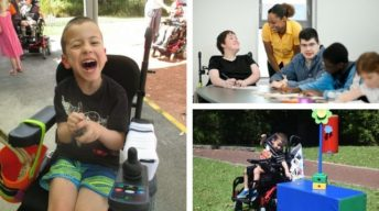 Three photos make up the larger photo. On the left is a photo of a laughing boy sitting in his wheelchair, on the top right is a photo of four teens with a disability at a table doing an activity with a teacher and the bottom right is a picture of a boy with cerebral palsy in a wheelchair playing a game where he has to pick up coloured ice block sticks off a table.