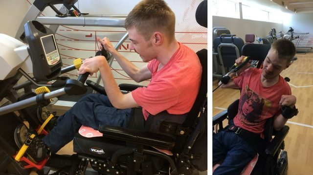 Two photos of young adult Damien using adapted gym equipment.