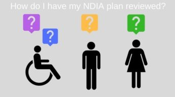 Three stick figures representing a person in a wheelchair, a man and woman who have question marks above them. The text at the top reads: How do I have my NDIA plan reviewed?