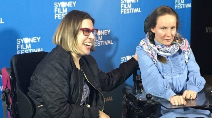 Johanna Garvin and Emily Dash on the red carpet for their film the Milky Pop Kid at the Sydney Film Festival. Both have cerebral palsy and are in wheelchairs.