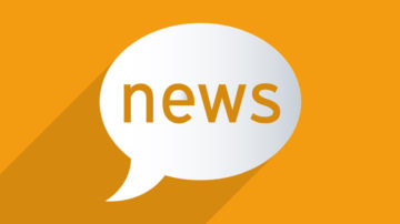 Orange background with a white speech bubble in the middle that says news.